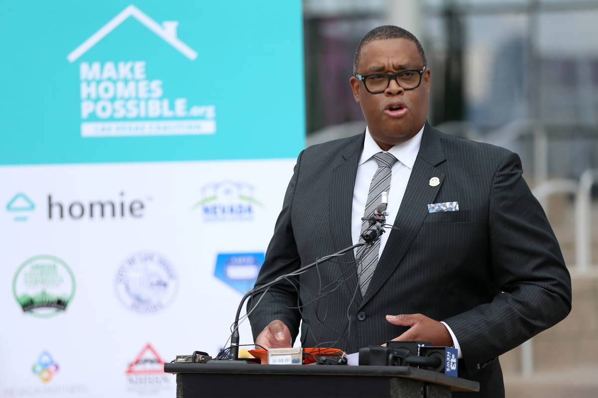 Las Vegas Councilman Cedric Crear speaks during a press conference to announce the formation of the Coalition to Make Homes Possible, to help increase homeownership of Black people in Southern Nevada, at Las Vegas City Hall in Las Vegas, on Tuesday, Feb. 9, 2021. (Erik Verduzco / Las Vegas Review-Journal) @Erik_Verduzco