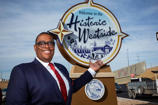 "Las Vegas City Councilman Cedric Crear is shown in front of the ""Welcome to the Historic Westside"" sign, at the offramp of U.S. 95 and Martin Luther King Boulevard, Thursday, Jan. 28, 2021."