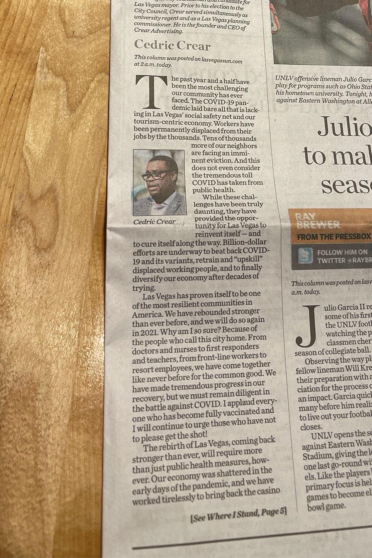 Cedric's article in the newspaper